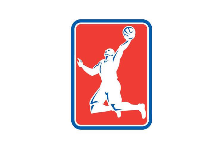 Basketball Player Rebounding Lay-Up Ball Rectangle example image 1