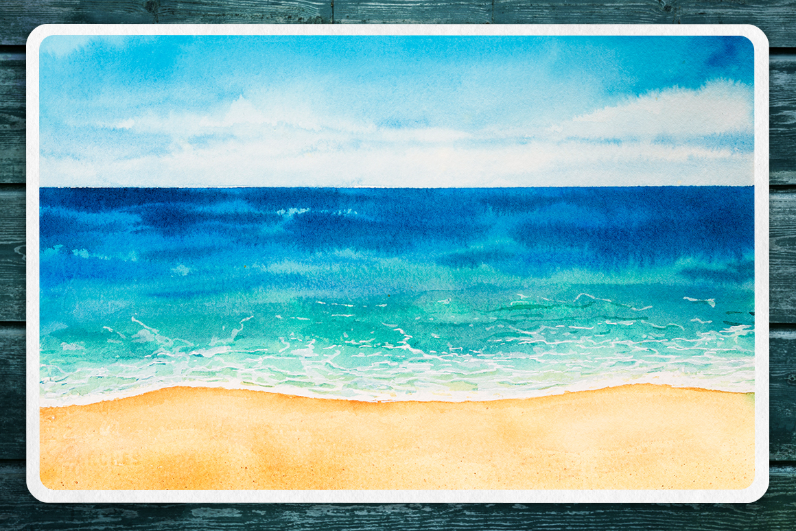 Seascapes 2. Watercolor set. example image 8