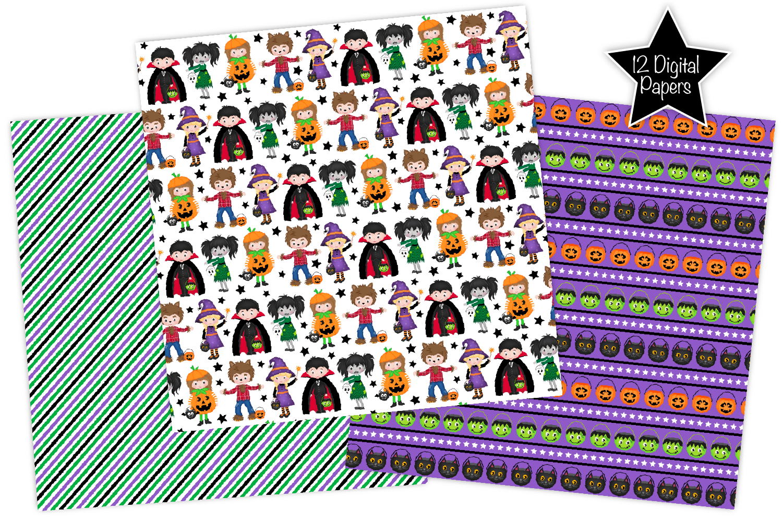 Halloween digital papers, Halloween patterns, scrapbooking example image 2