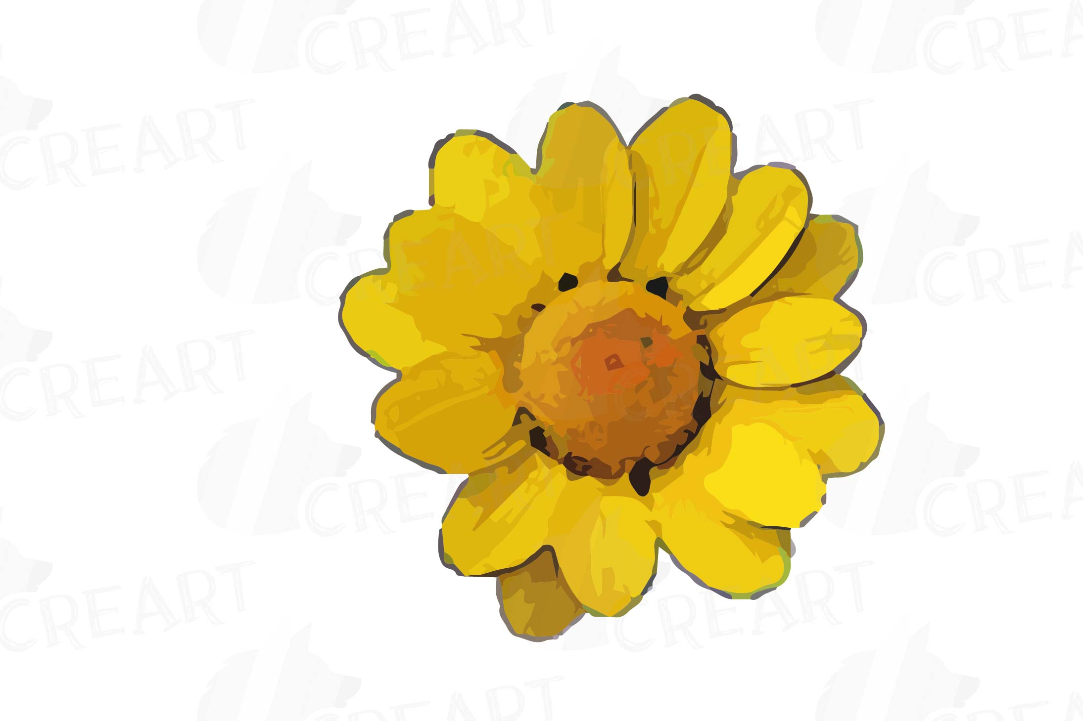 Watercolor yellow flowers and green leaves clip art pack example image 25