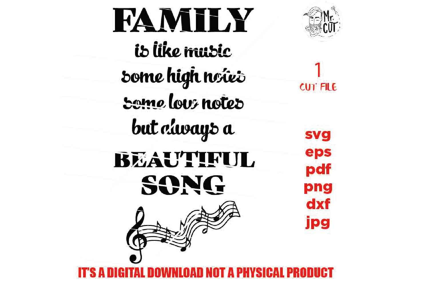 Family sign SVG, Family is like music SVG, reunion, dxf, jpg example image 2