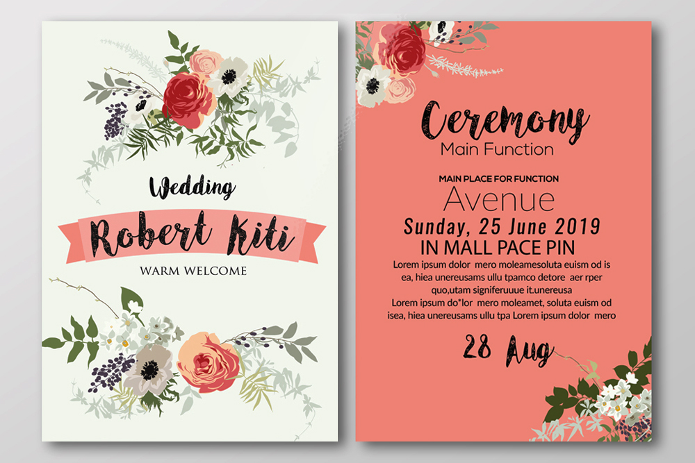 Double Sided Floral Wedding Invites Template example image 2