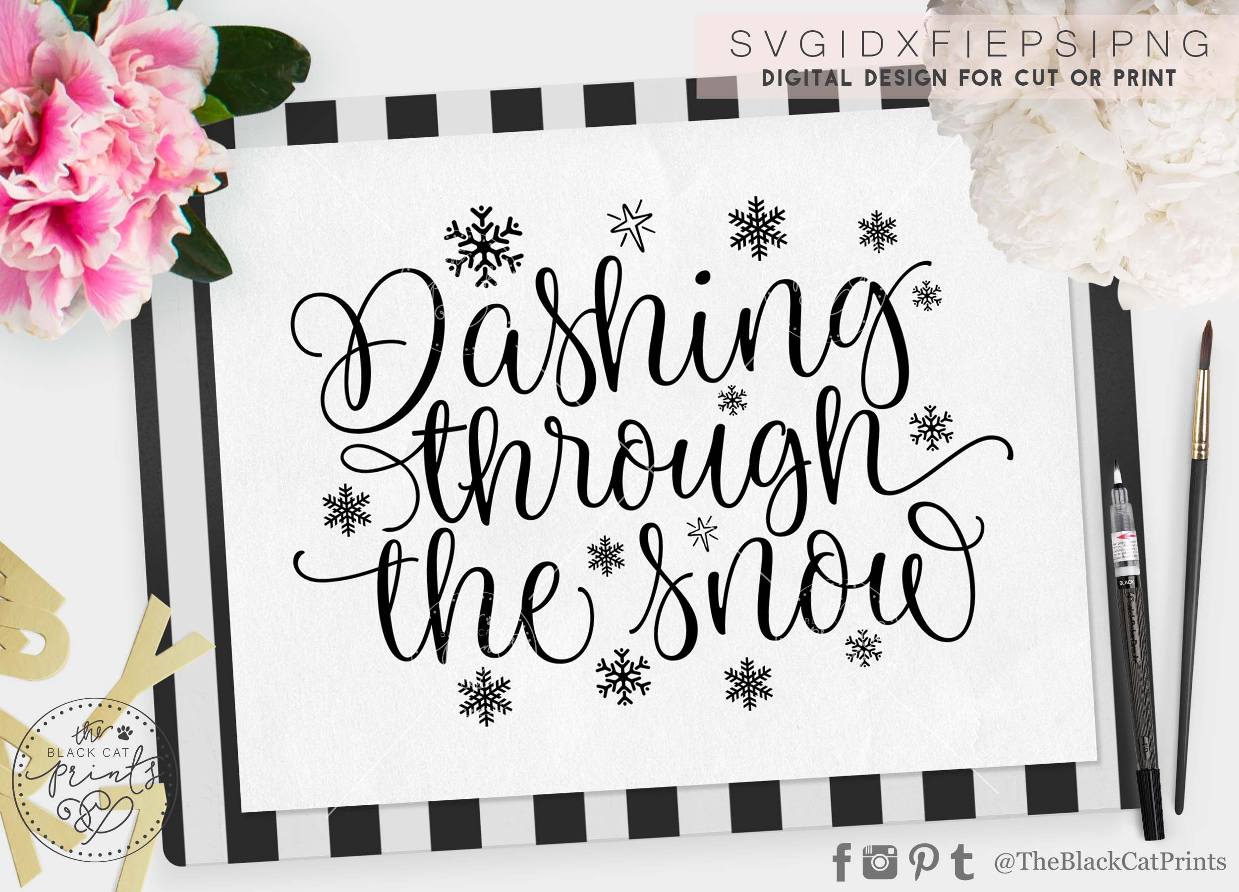 Dashing through the snow SVG DXF PNG example image 4
