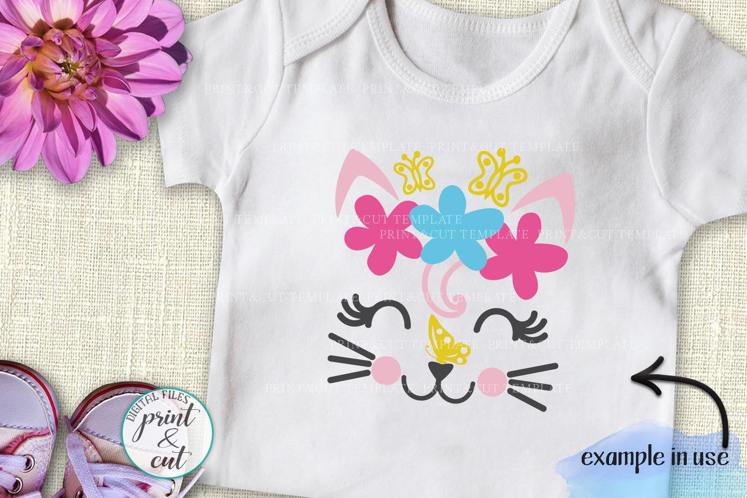 Cat Kitty face bundle with flowers hearts unicorn crown svg example image 3