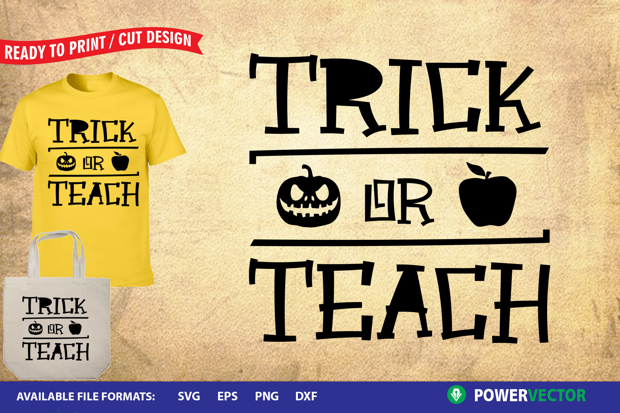 Trick or Teach SVG | Funny Halloween Cut Files example image 1