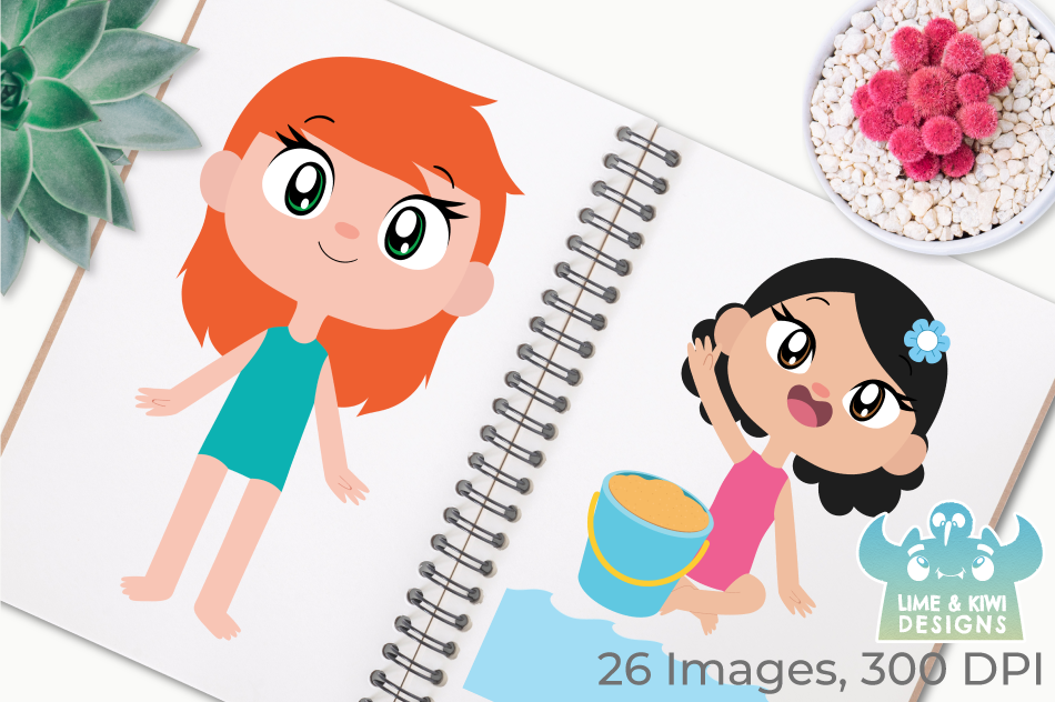 Beach Party Girls Clipart, Instant Download Vector Art example image 3