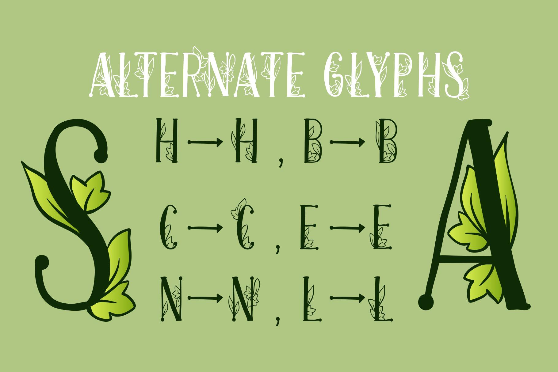 Onferia - decorative leaf font example image 3