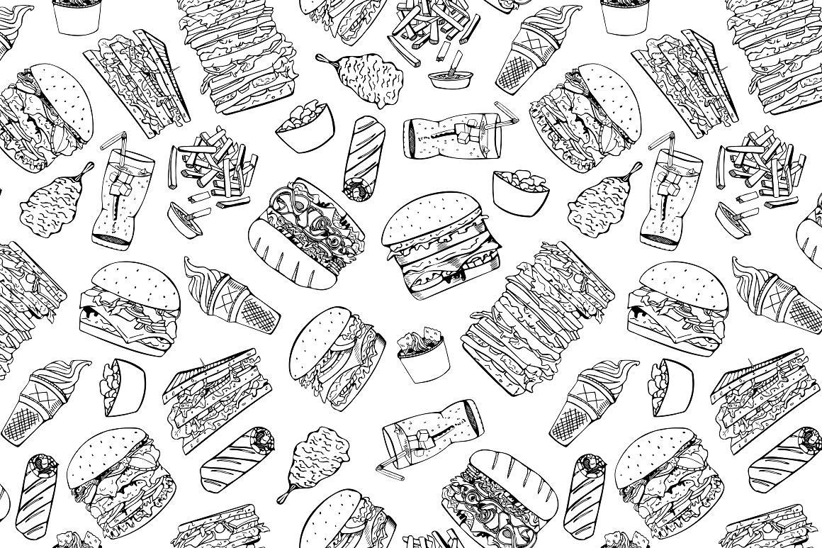 Fast food set. + Seamless patterns example image 4