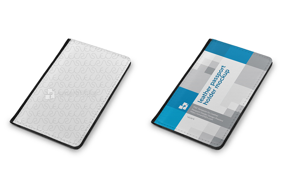 Leather Passport Holder Design Mockup - 4 Views example image 2