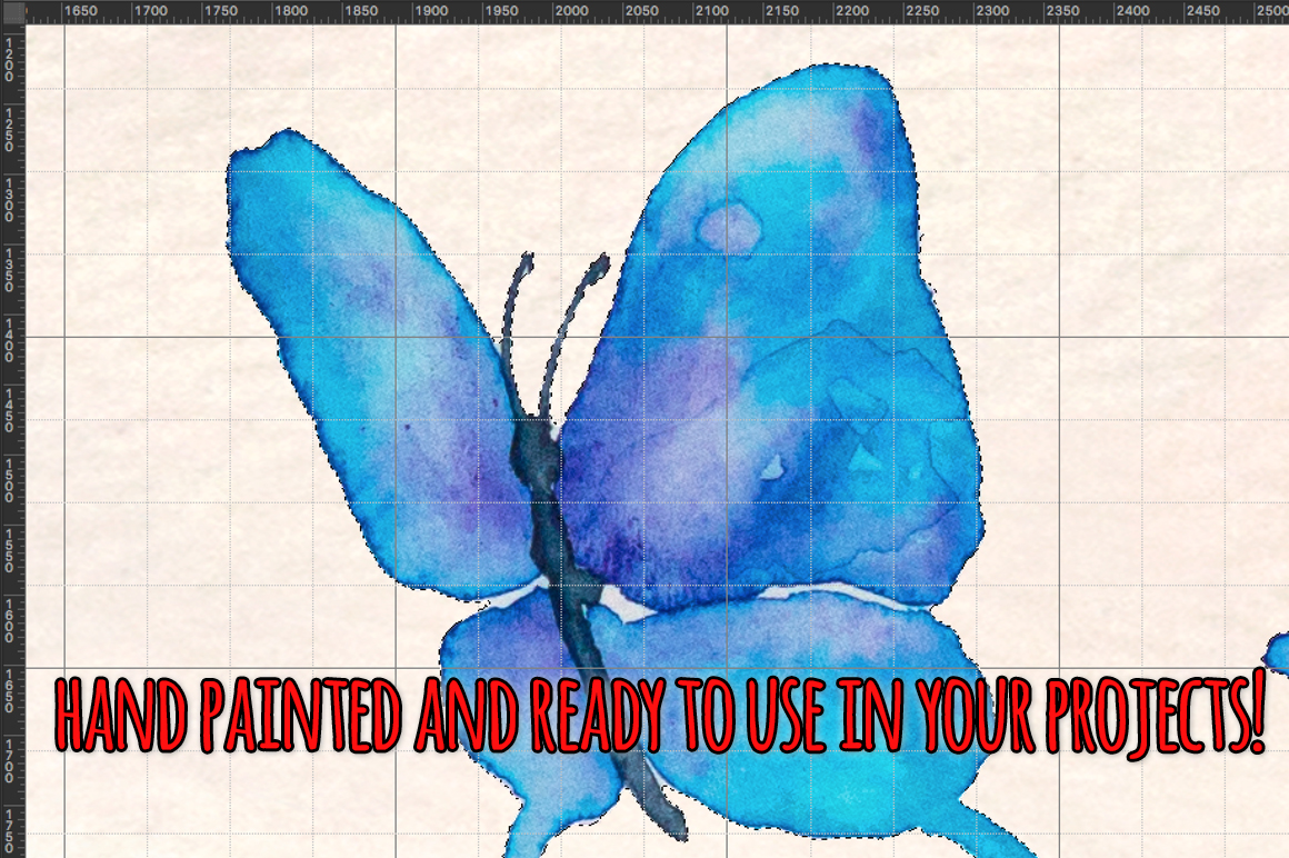Blue Butterflies 35 Cute Elements example image 3