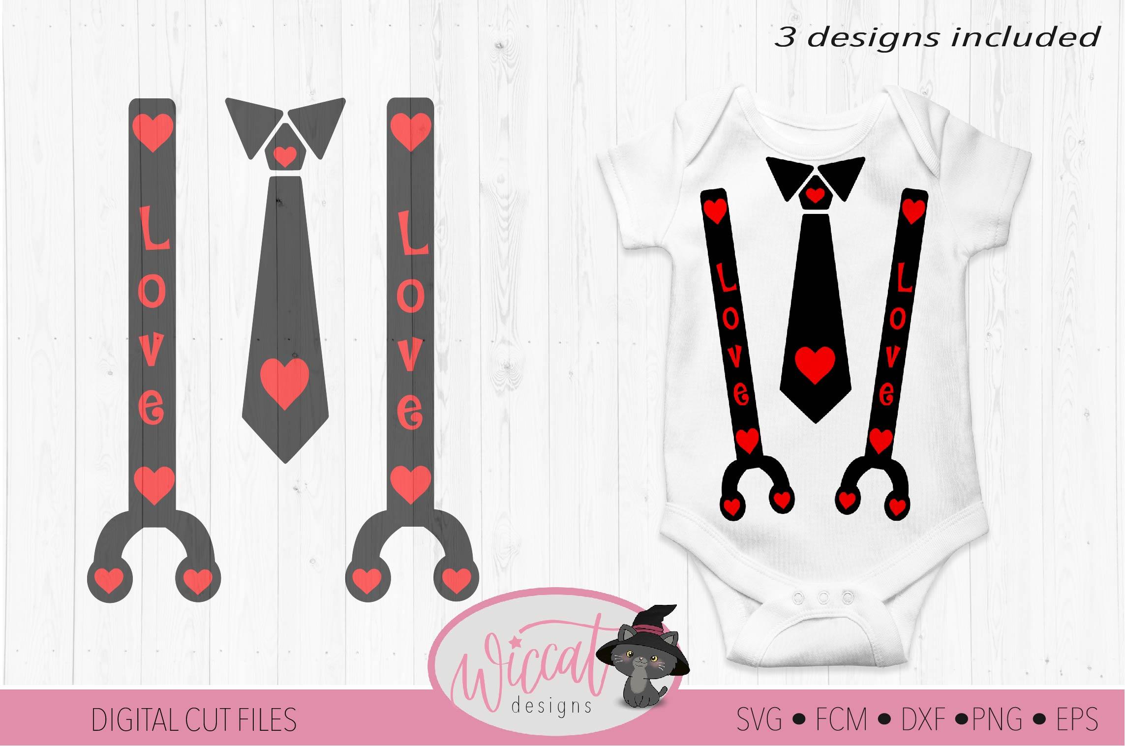 Valentine Baby tie and suspender svg example image 2