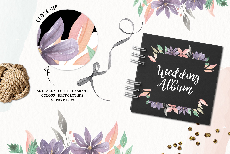 Watercolor Frames Borders Set Purple Flowers Floral Spring example image 2