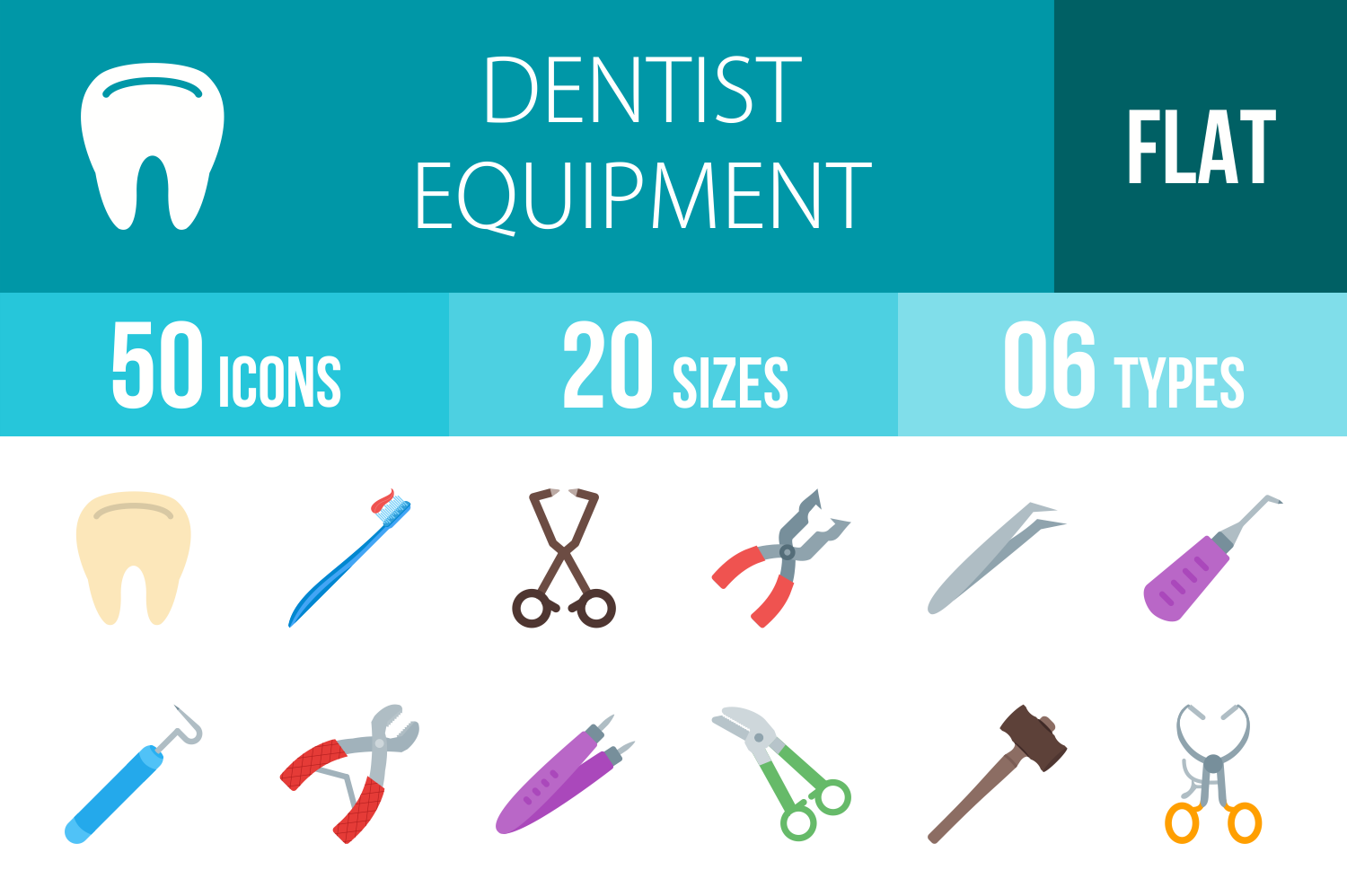 50 Dentist Equipment Flat Multicolor Icons example image 1