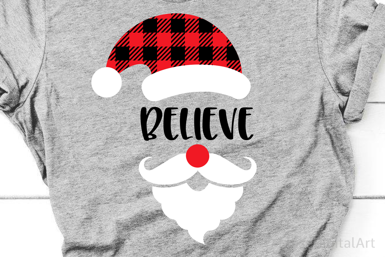 Believe Svg, Christmas Svg, Buffalo Plaid Svg, Santa Hat Svg example image 1