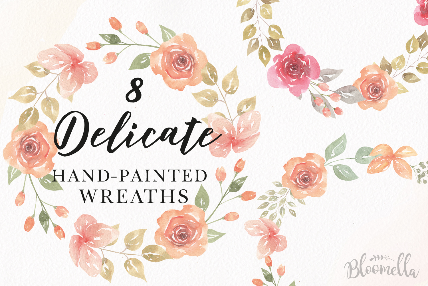 Rose Watercolor Floral Wreaths 8 Red Peach Flower Wedding example image 1