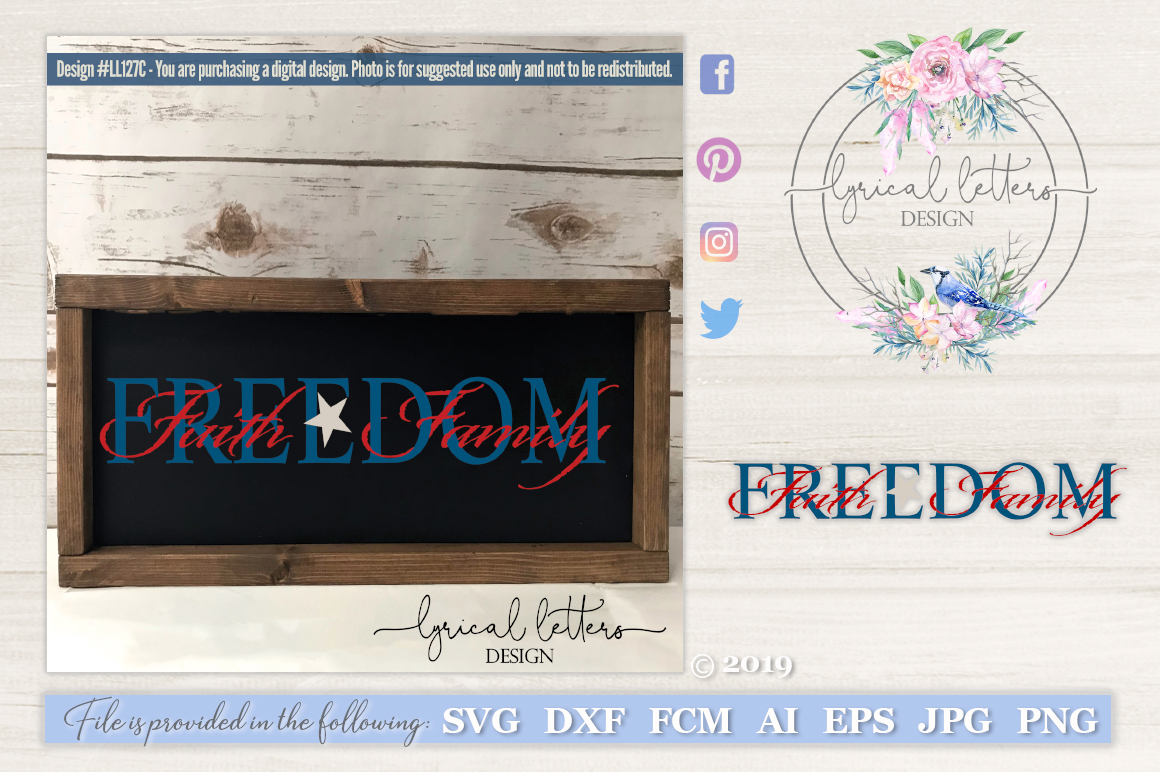 Faith Family Freedom with Intertwined Text SVG DXF LL127C example image 1