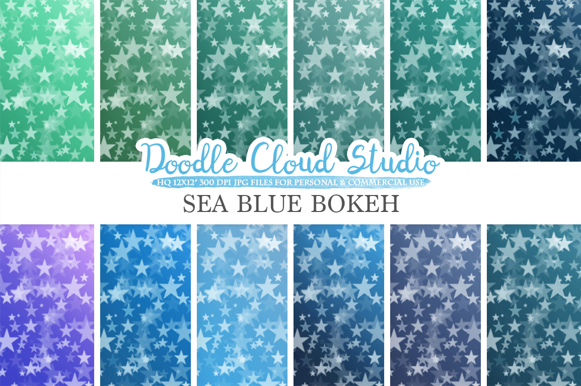 Sea Blue Stars Bokeh digital paper, Sea Blue colors Bokeh Overlay, Star Bokeh backgrounds, Instant Download, for Personal & Commercial Use example image 2