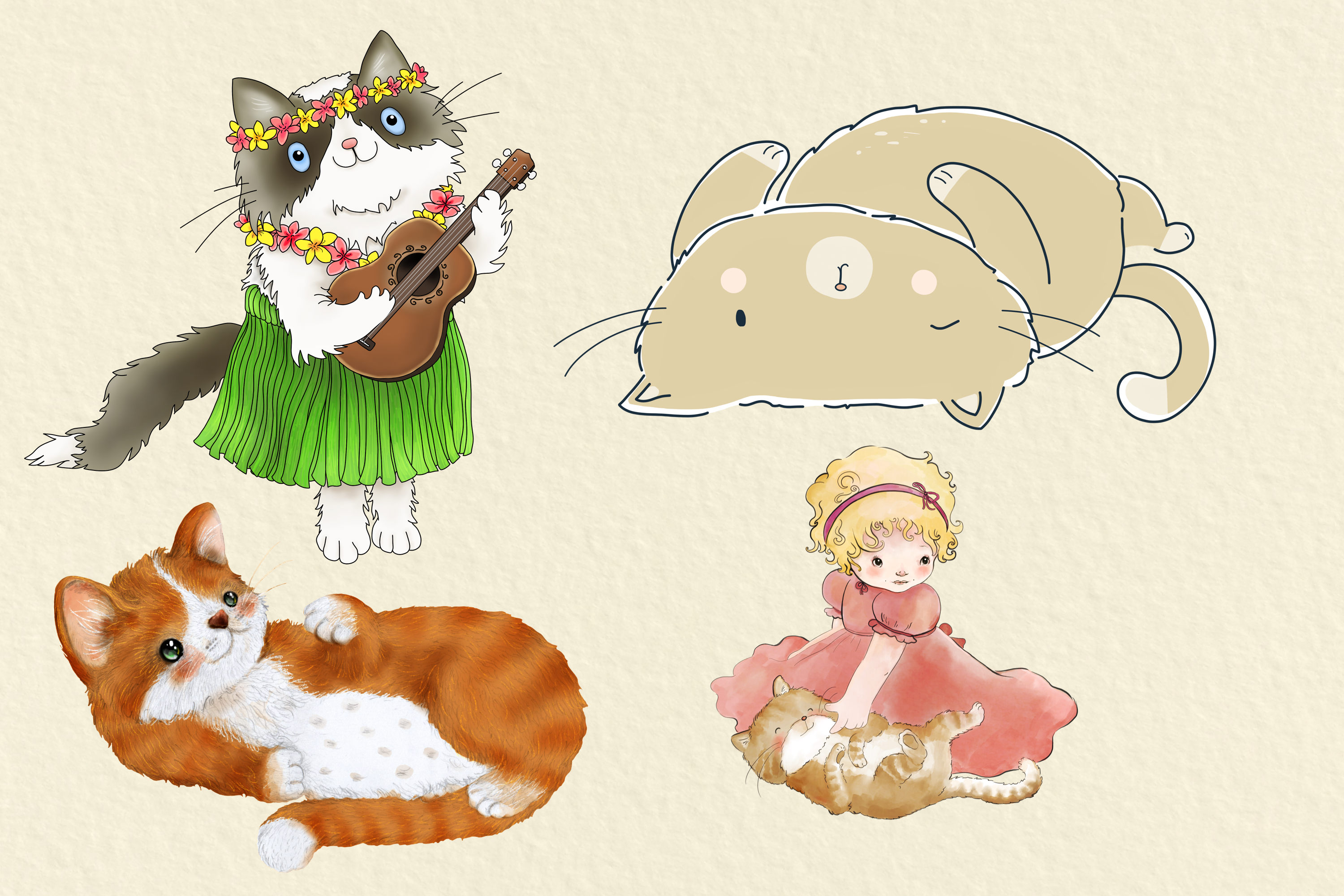 CATS | 20 Assorted PNG Clip Art Illustrations example image 5