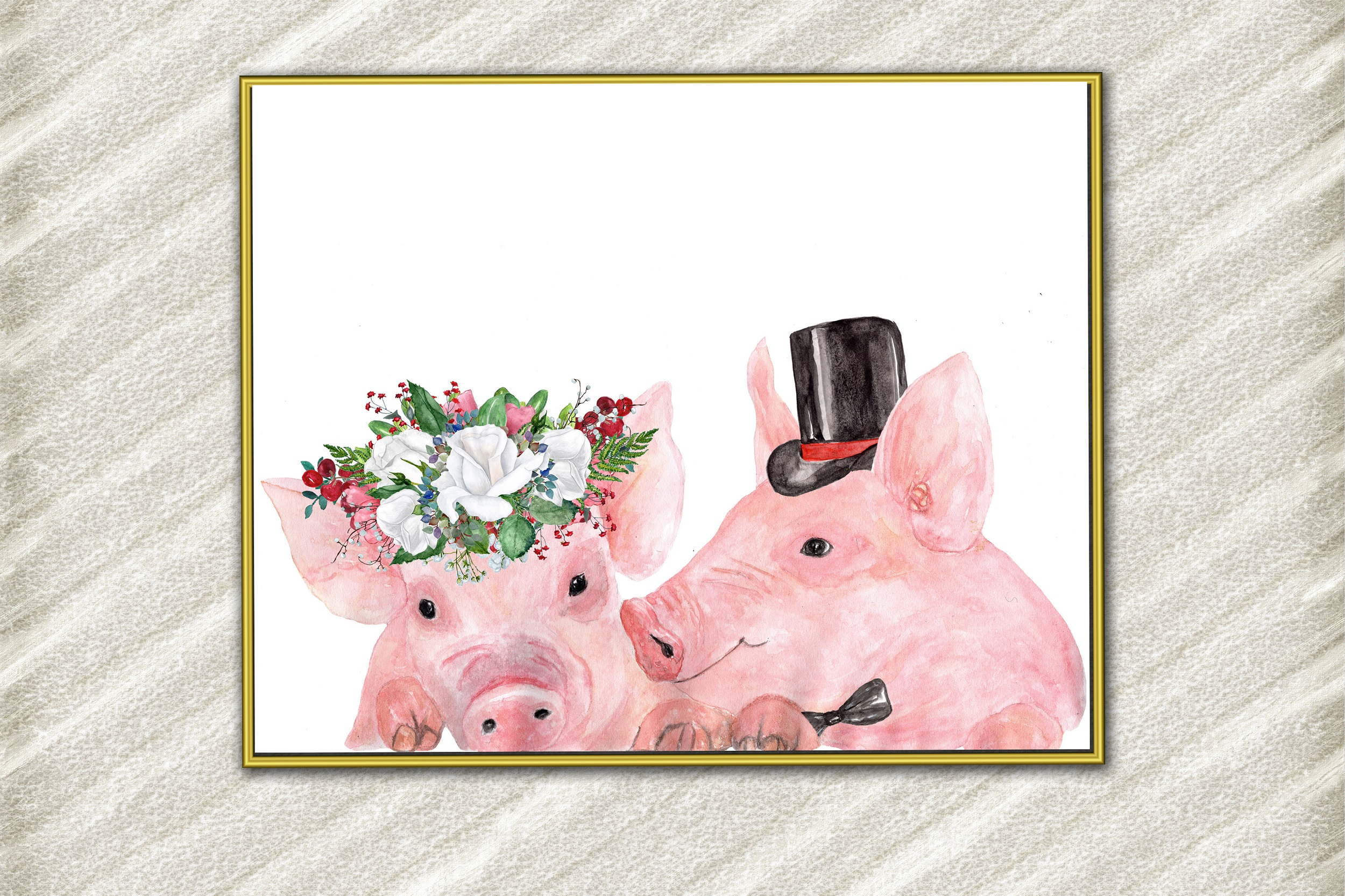 Pigs digital prints Bride and groom pigs Funny pigs poster example image 1
