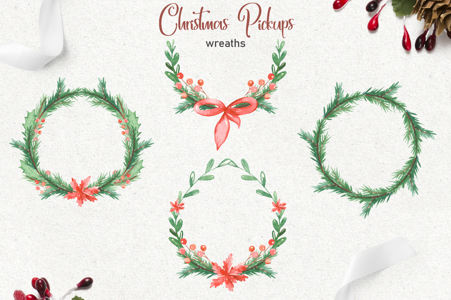 Christmas pickup Watercolor clipart and Christmas elements example image 5