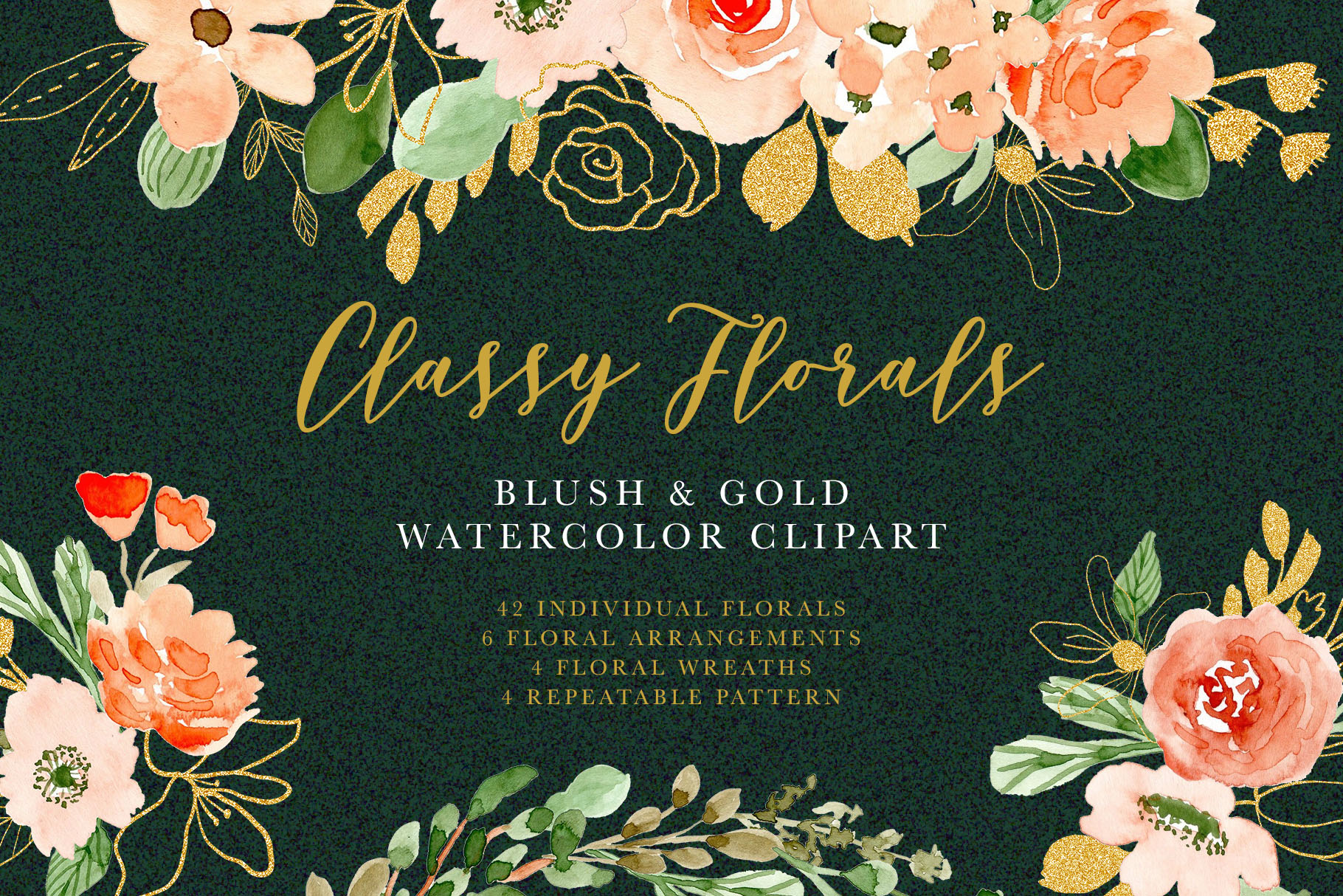 Classy Florals - Watercolor Clipart example image 1
