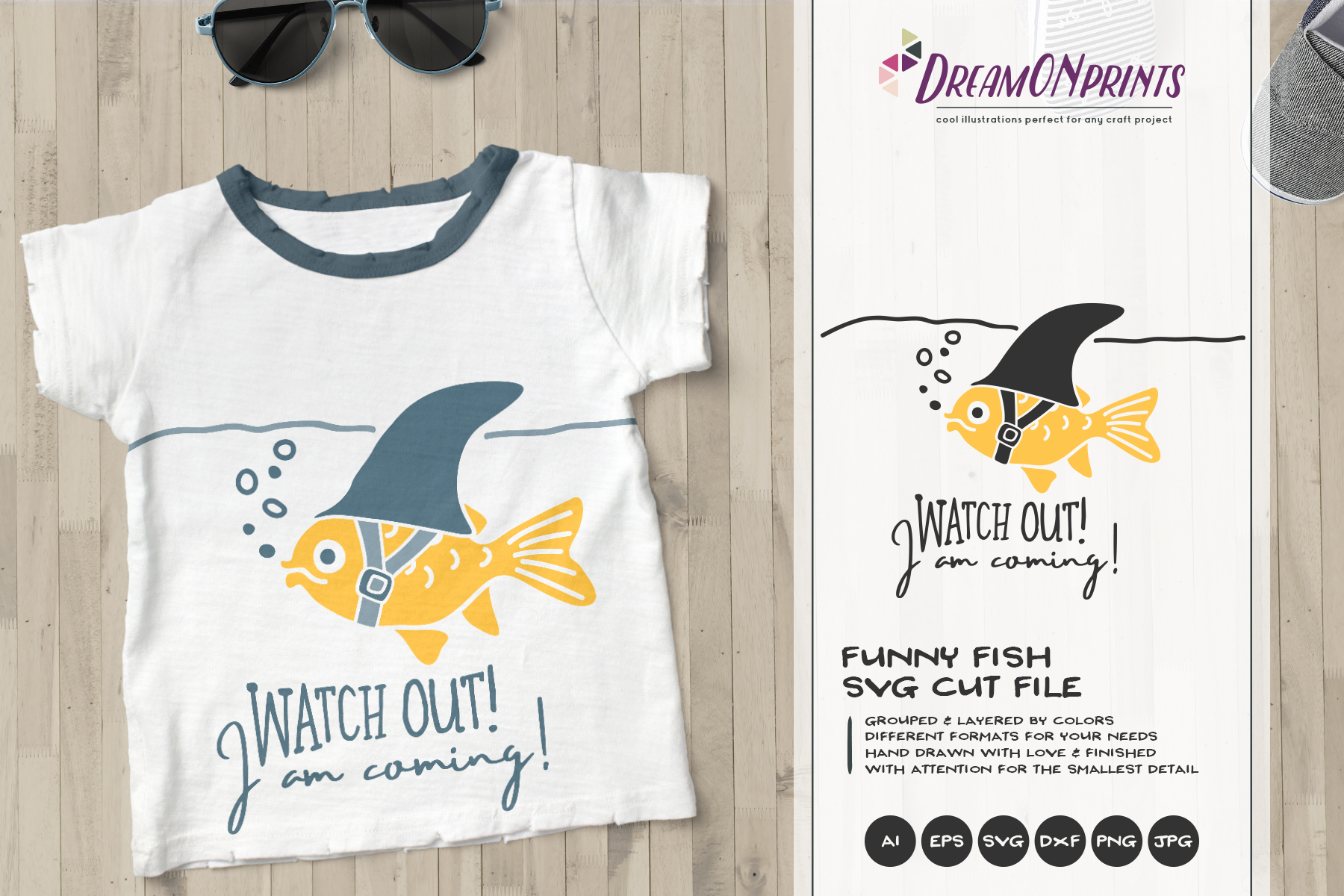 Watch OUT!   Fun Fish SVG   Funny Shark Illustration example image 1
