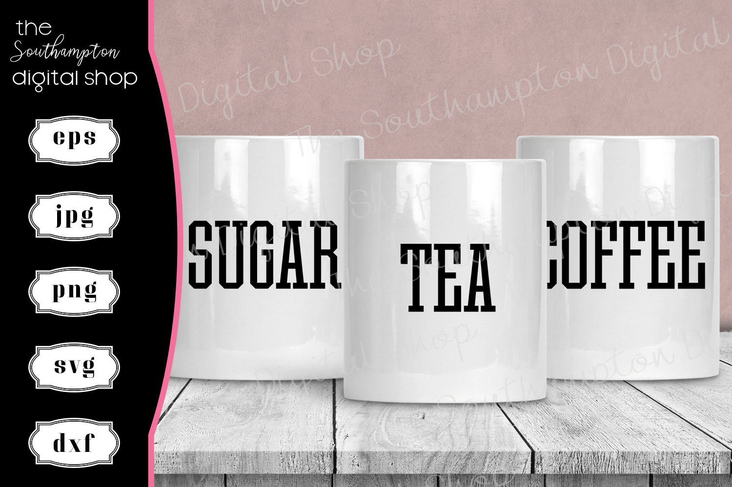 Tea Coffee Sugar Hot Chocolate Creamer Labels V3 example image 1