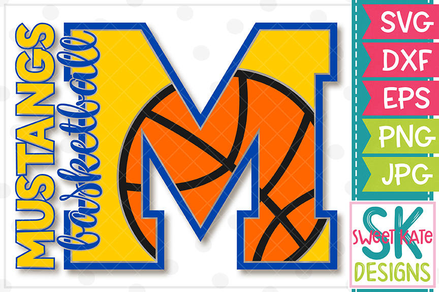 M Mustangs Basketball SVG DXF EPS PNG JPG example image 2