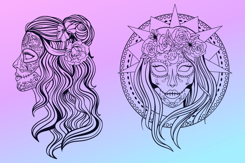 Sugar Skull SVG Collection | Calavera Ladies SVG example image 6