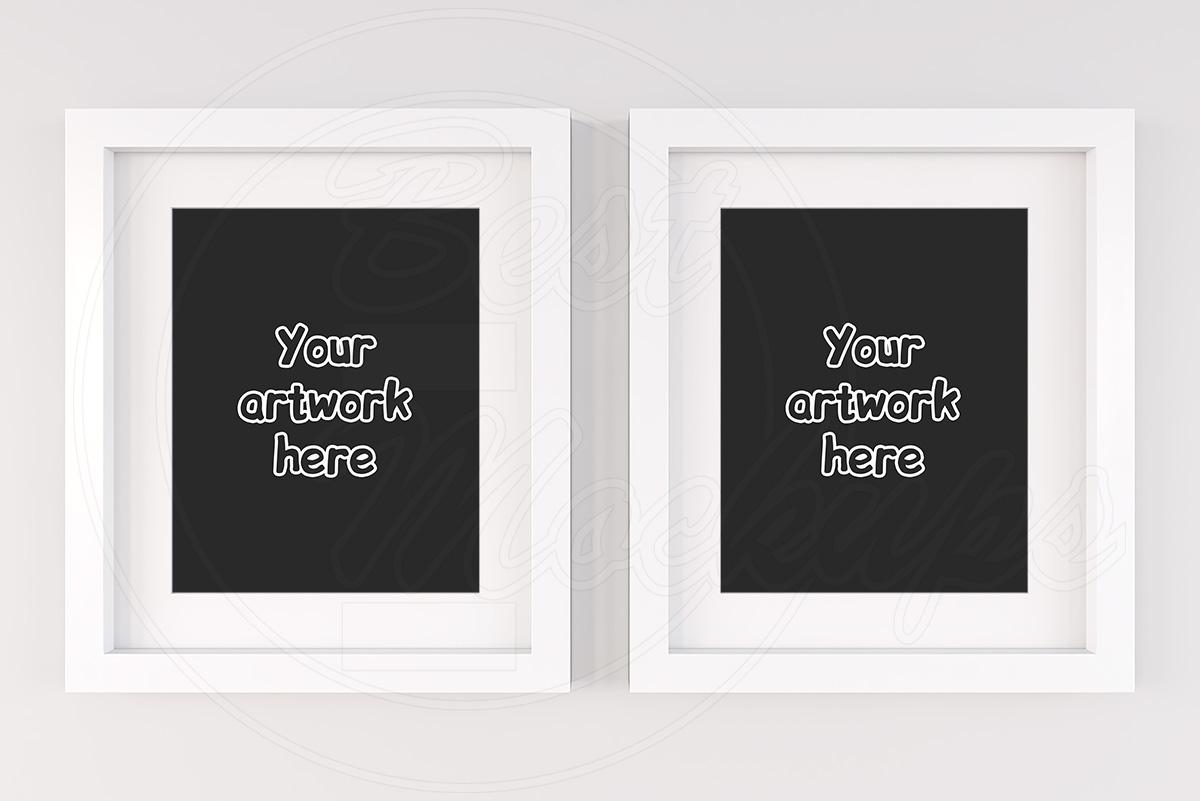Set of 2 frames mockup white matt example image 1