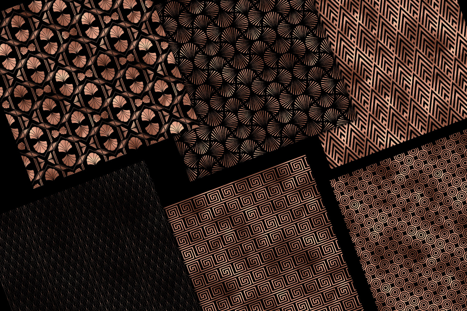 Black and Rose Gold Art Deco Digital Paper example image 6