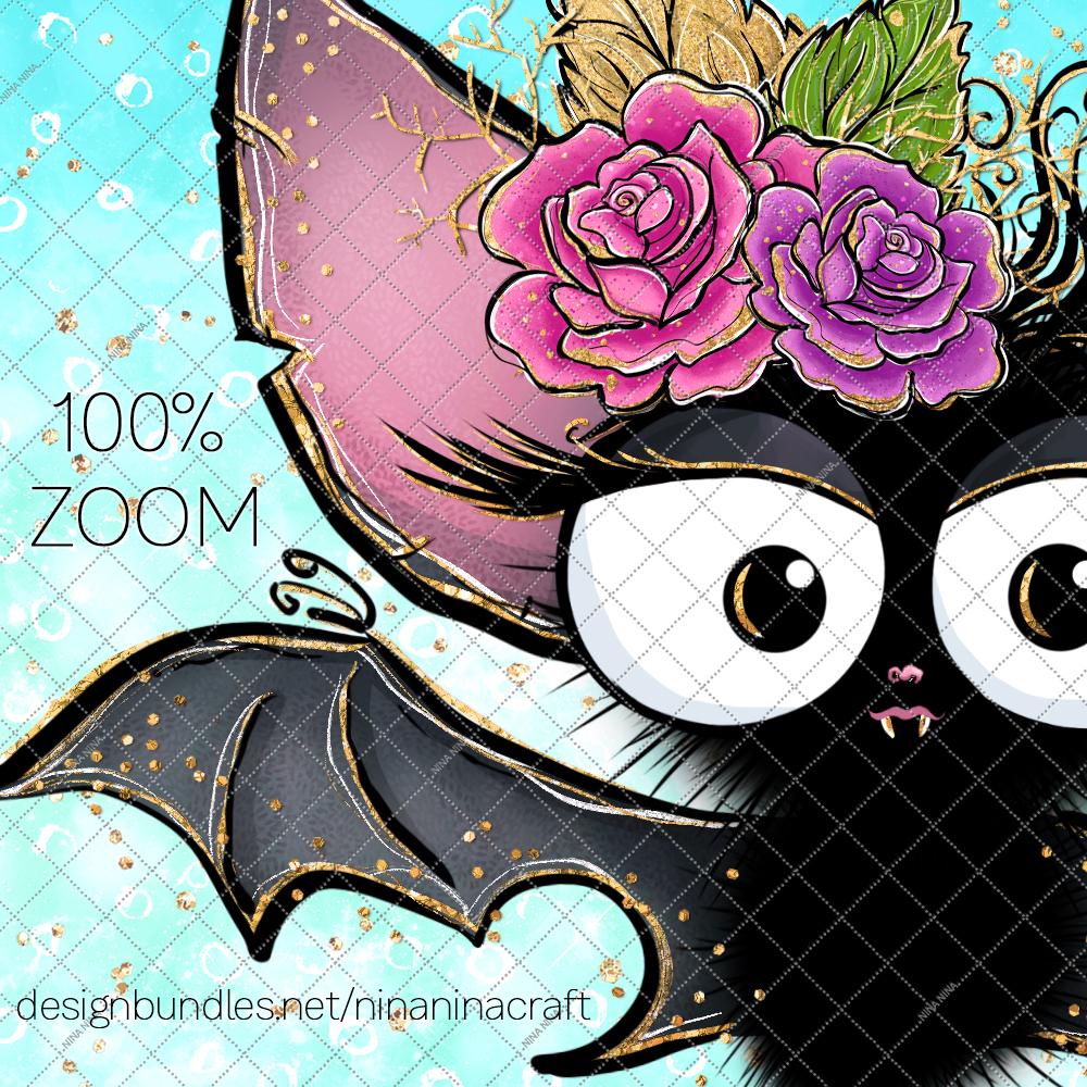 Cute Halloween Clipart, Bats Clip Art PNG Pack example image 6