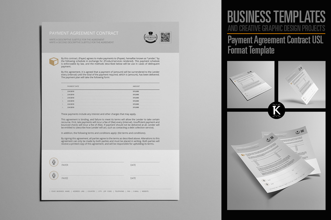 Payment Agreement Contract USL Format Template example image 1