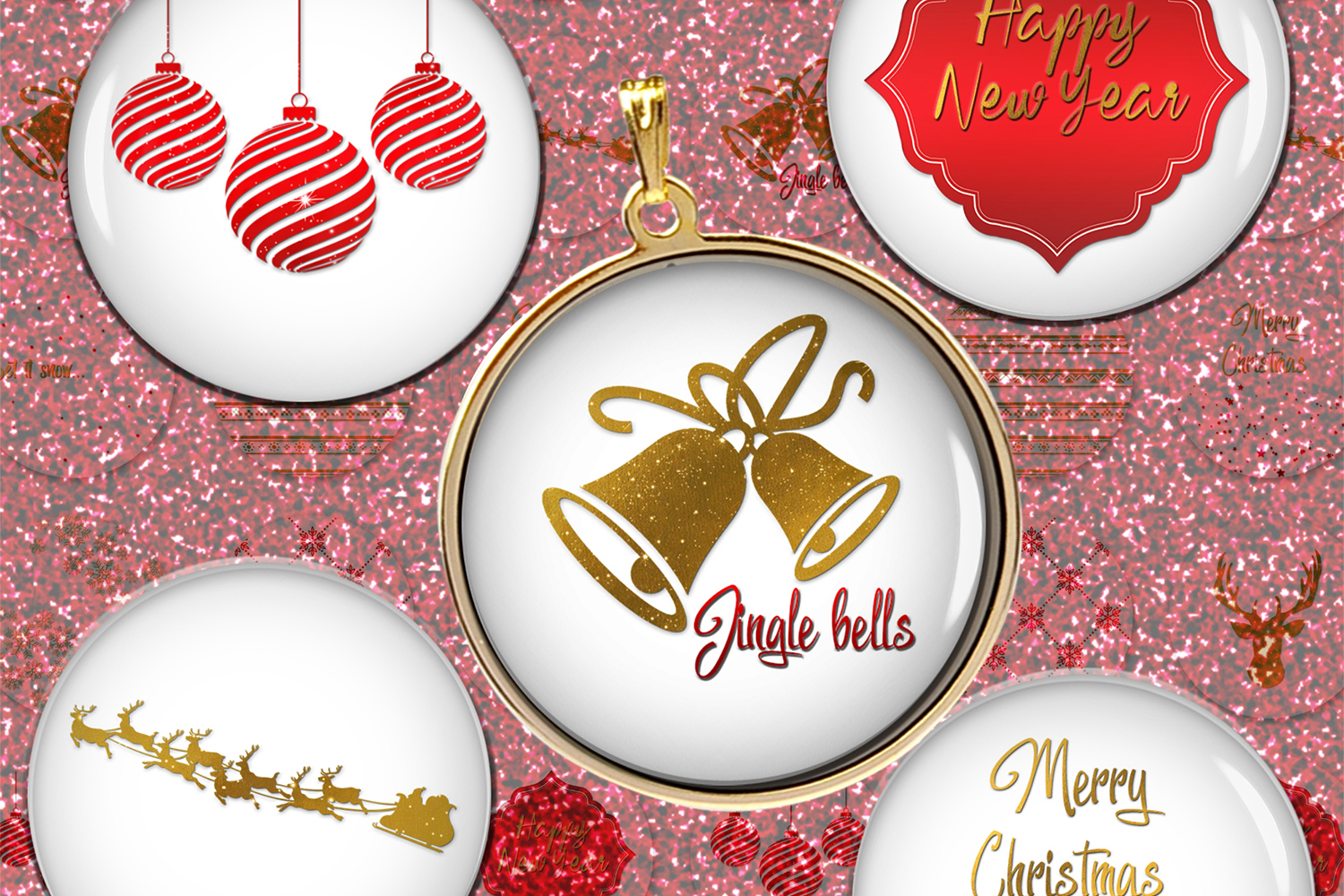 New Year Digital Colllge Sheet,Pendants Images,Cabochons example image 1