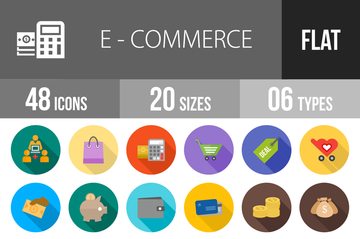 48 Ecommerce Flat Long Shadow Icons example image 1