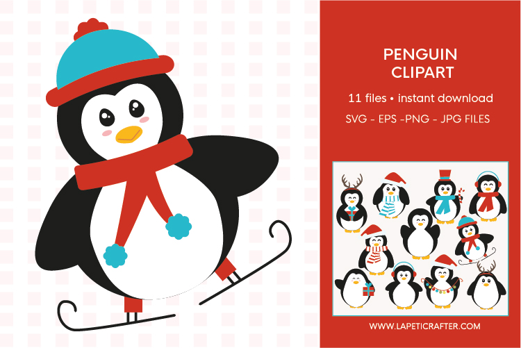 Christmas penguin clipart set, winter animals vector example image 7