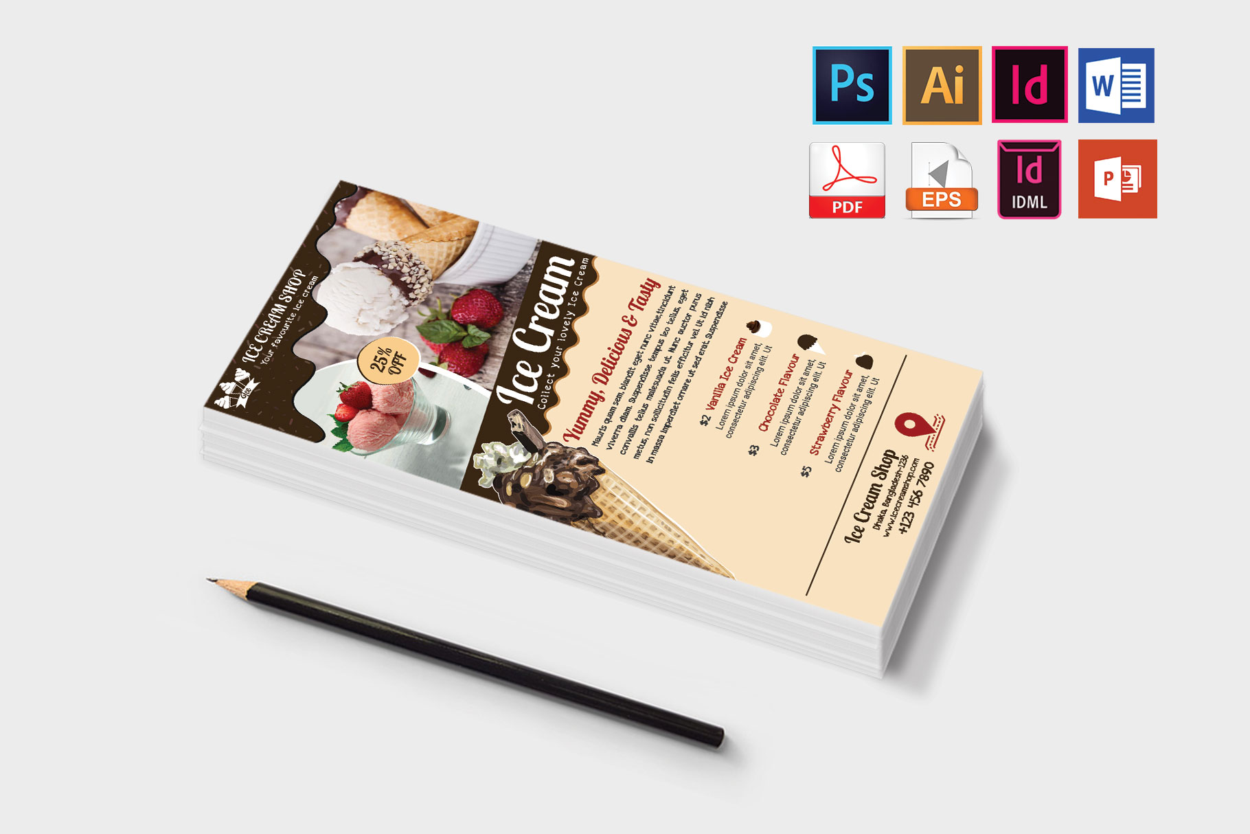 Rack Card | Ice Cream Shop DL Flyer Vol-03 example image 3