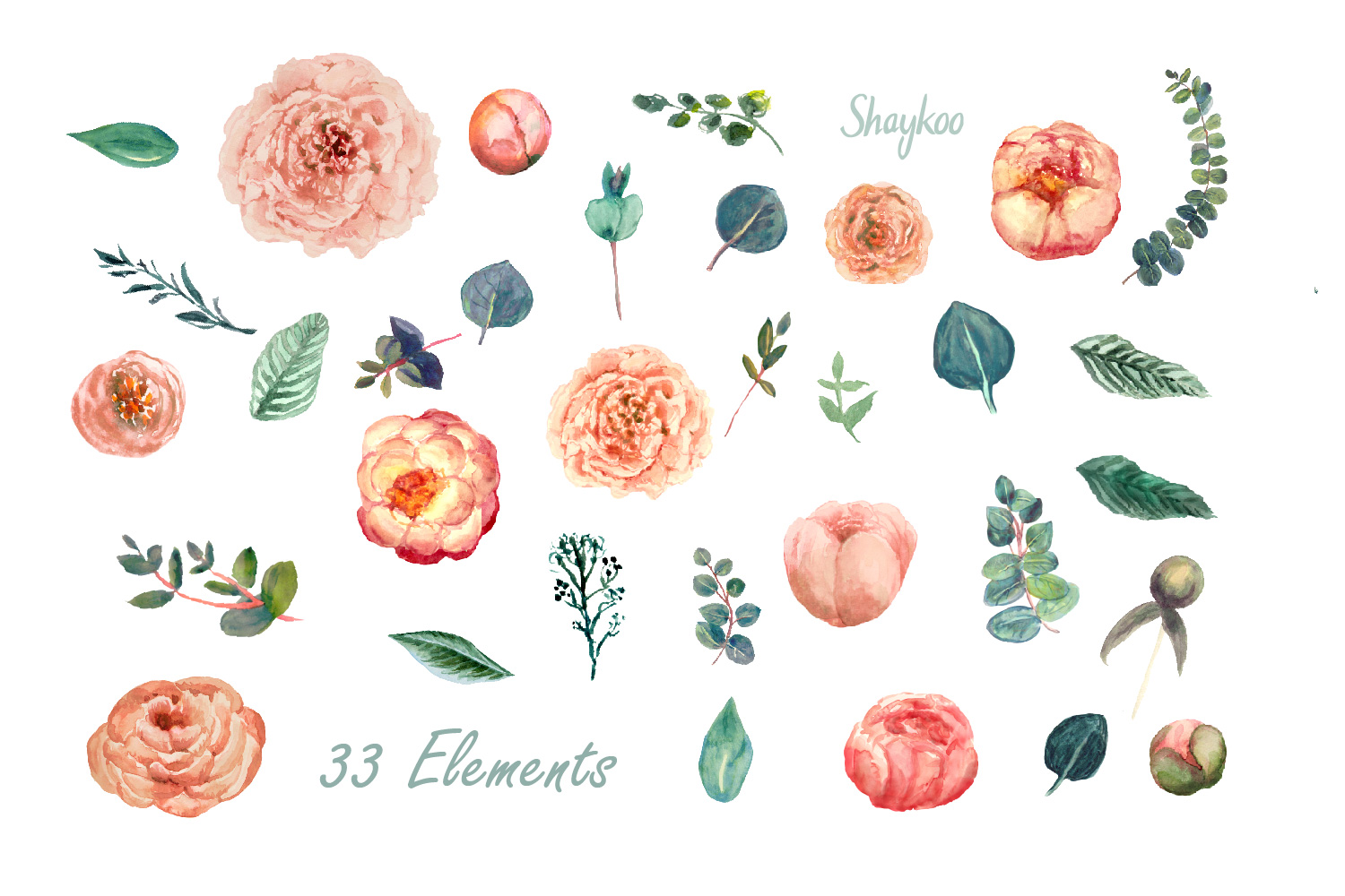 Blush Peony and Eucalyptus Watercolor Clipart Wedding Invite example image 2