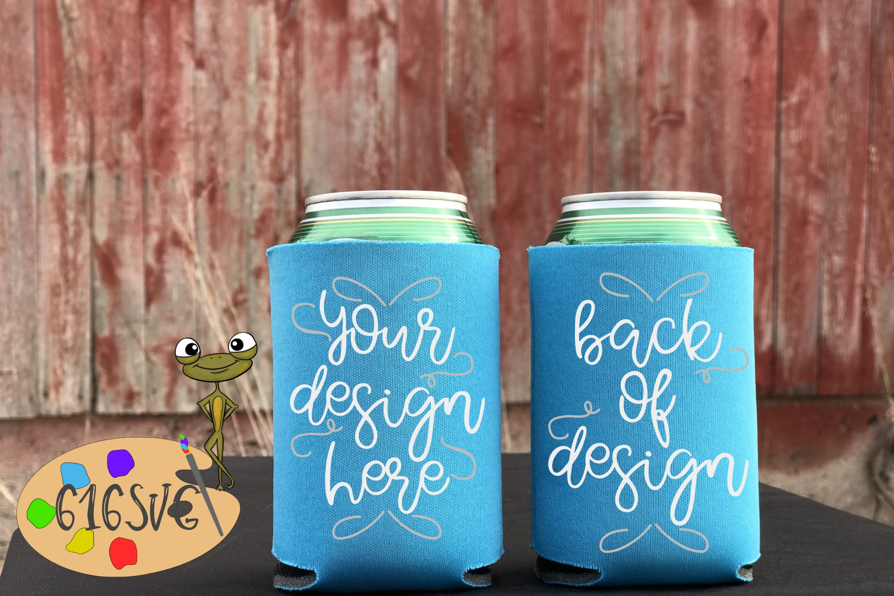 Neon Blue Can Cooler Mockup example image 2
