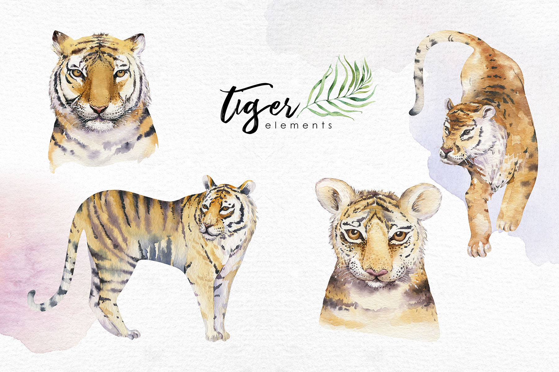 Watecolor tropical tigers example image 2