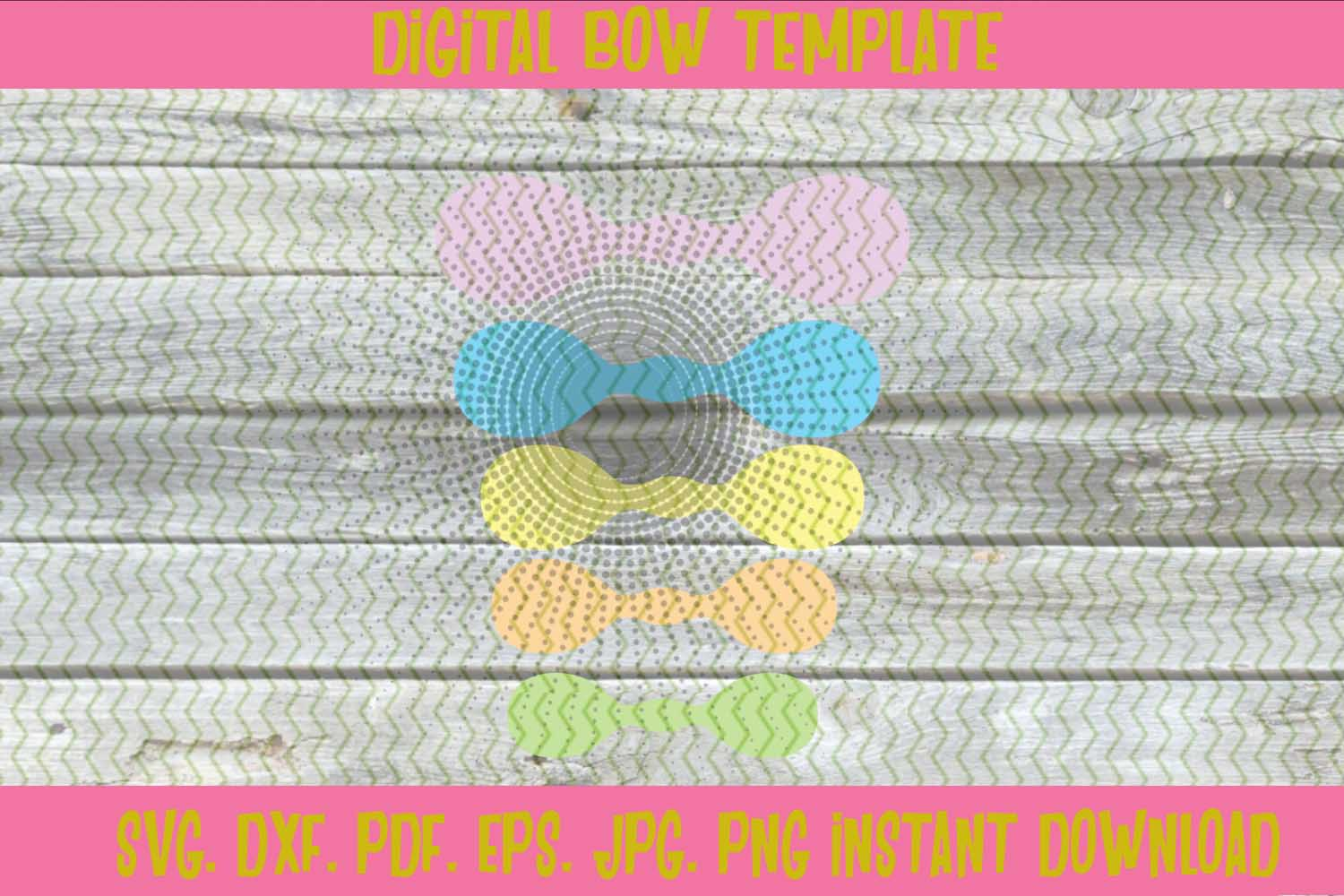 5 Assorted Sizes Knot Round Bow Hair Tie Template example image 2