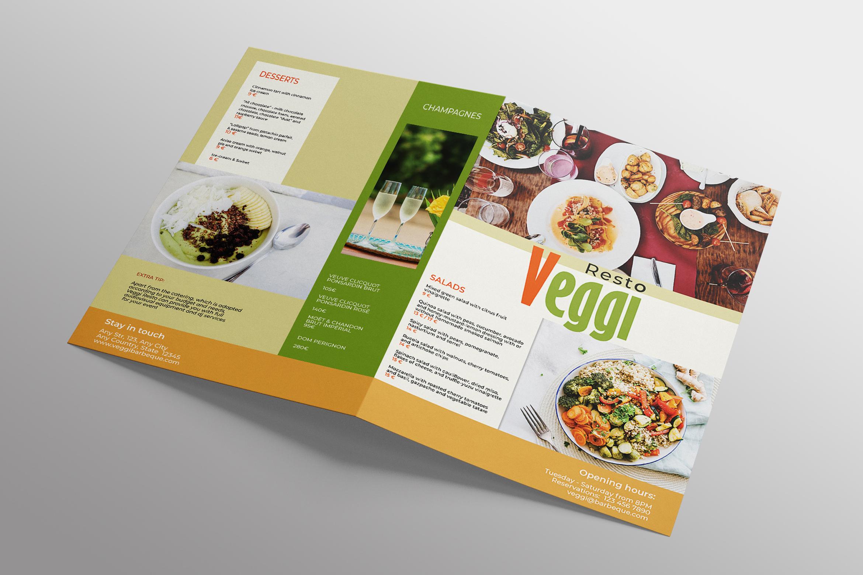 Vegan Menu Bifold Brochure A3 - AI/PSD Templates example image 5