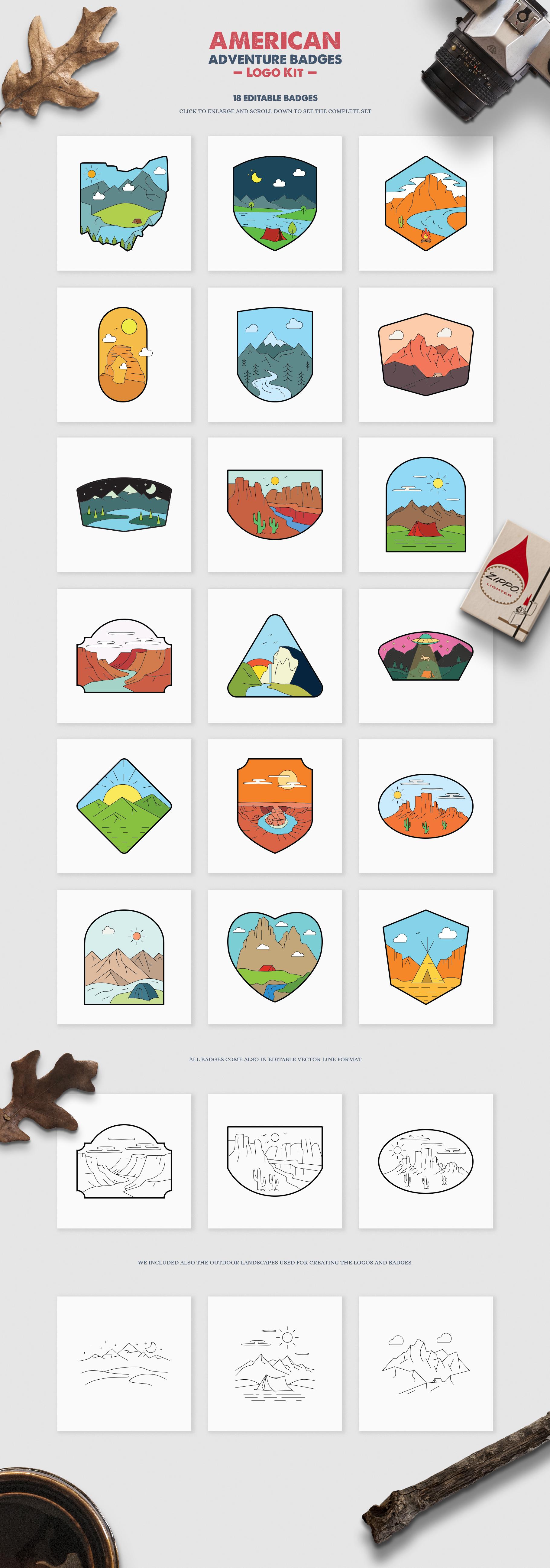 American Adventure Logo Kit / National Park Logos / Mountain example image 2