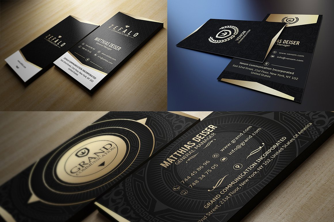 6 Gold And Black Business Cards Bundle example image 5