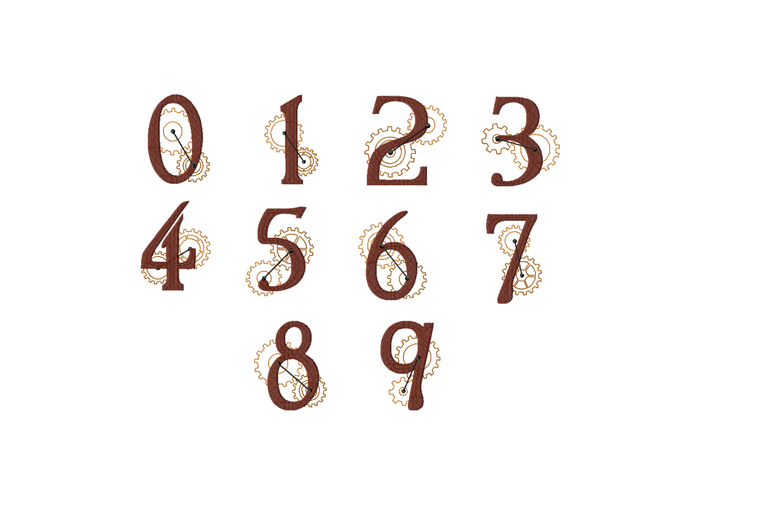Steampunk Numbers Zero to Nine - 4 x 4 hoop Instant Download example image 1