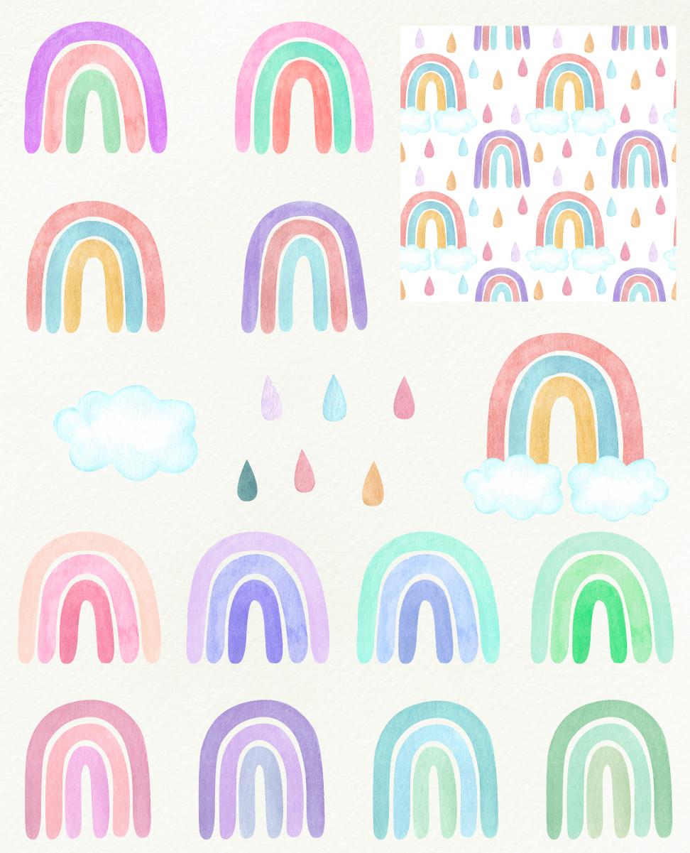 Watercolor rainbows clipart. Baby shower, nursery example image 2