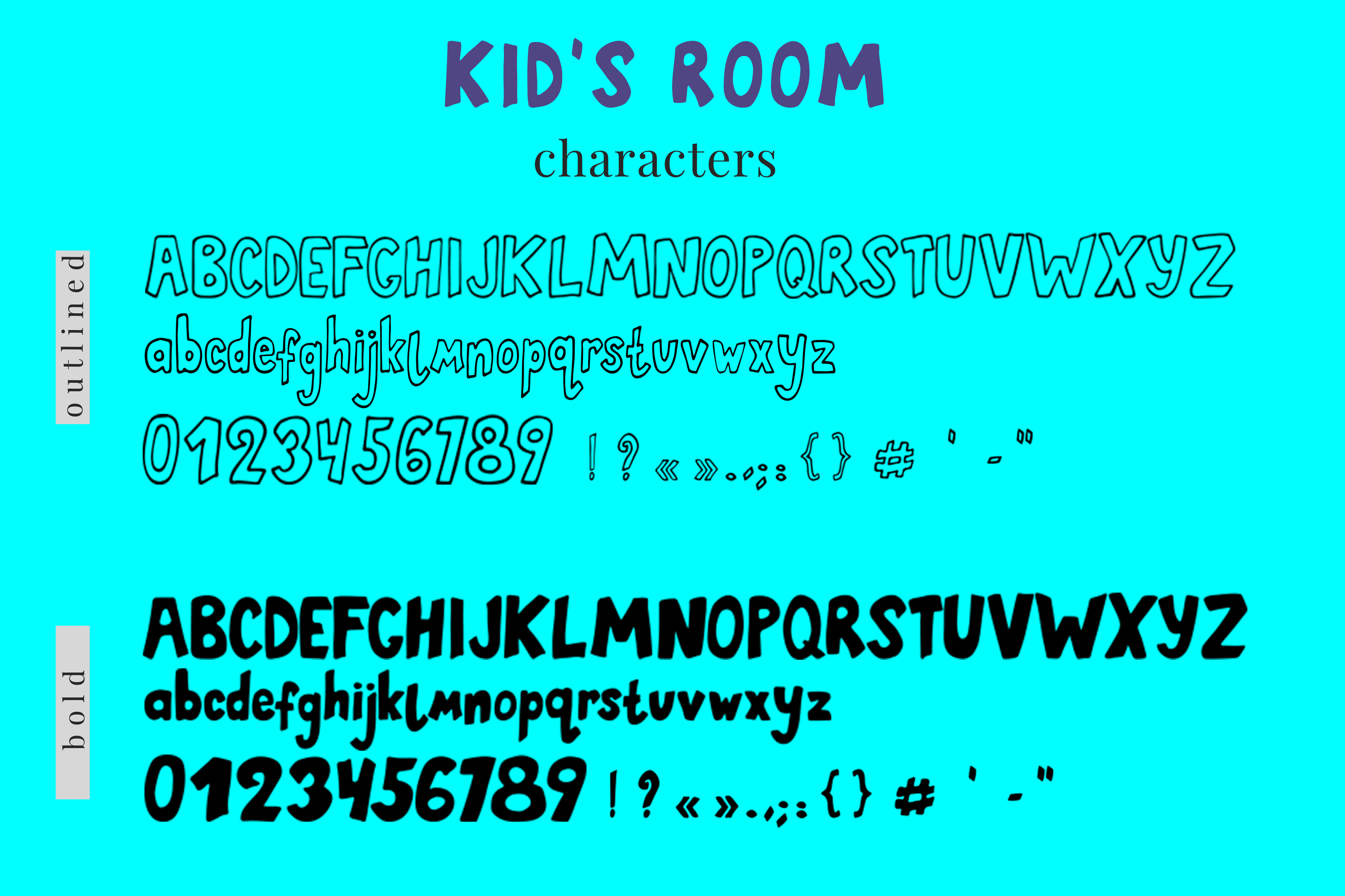 Kid's Room typeface with Outline and Solid versions and extr example image 4