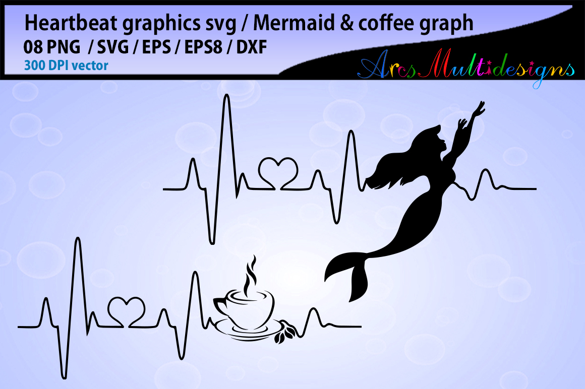 mermaid heart beat svg / coffee heart beat svg / heartbeat graphics and illustration / heartbeat graph SVG - vector example image 2