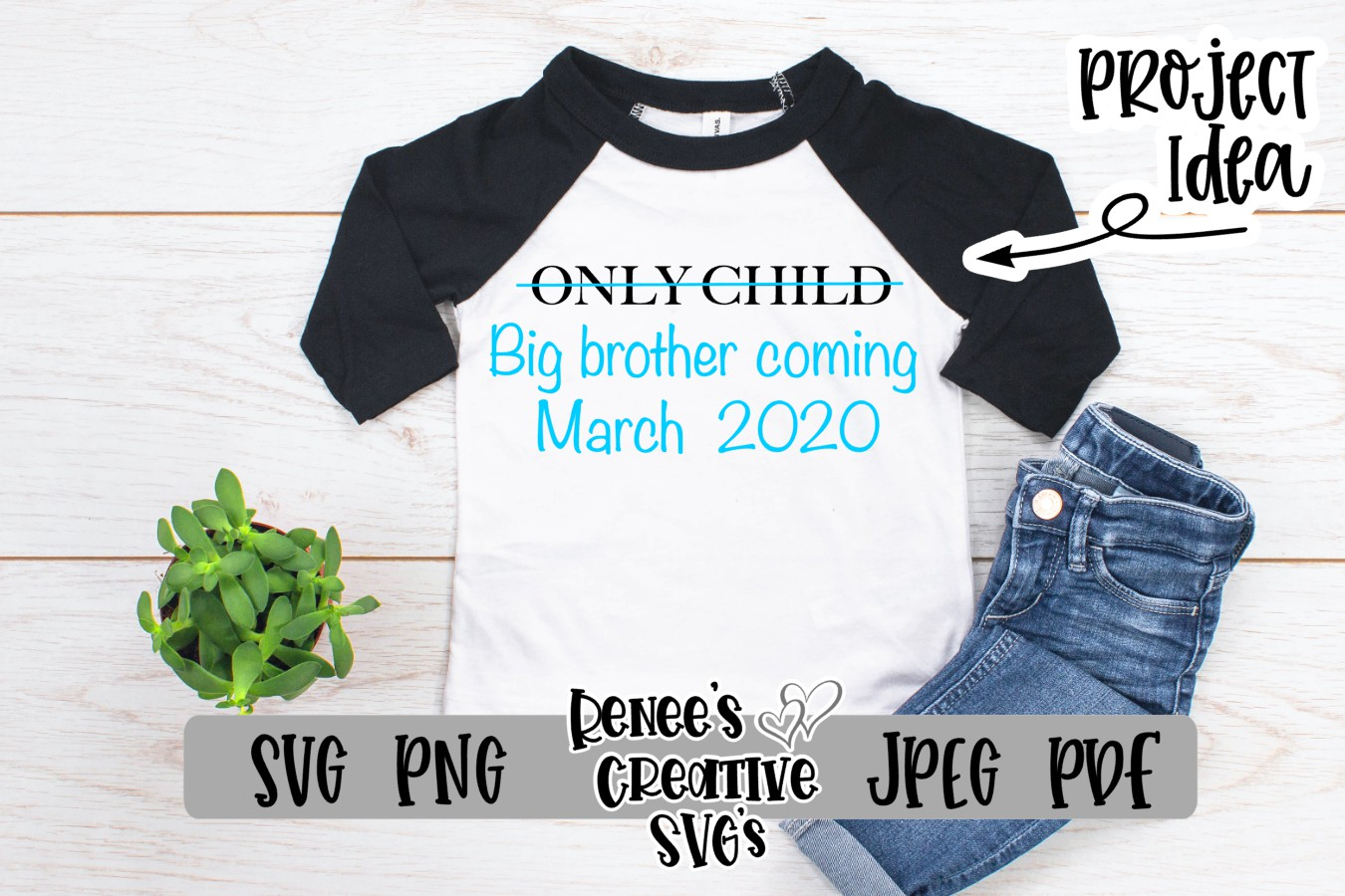 Only child, Big brother | SVG Cutting File example image 2
