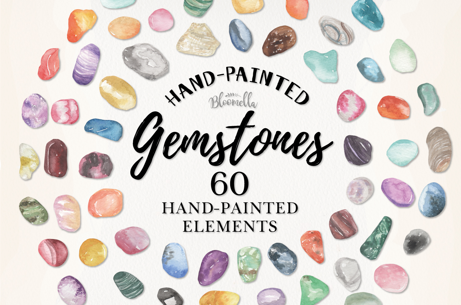 60 Gemstones Watercolor Elements Painted PNG Stones Crystals example image 1